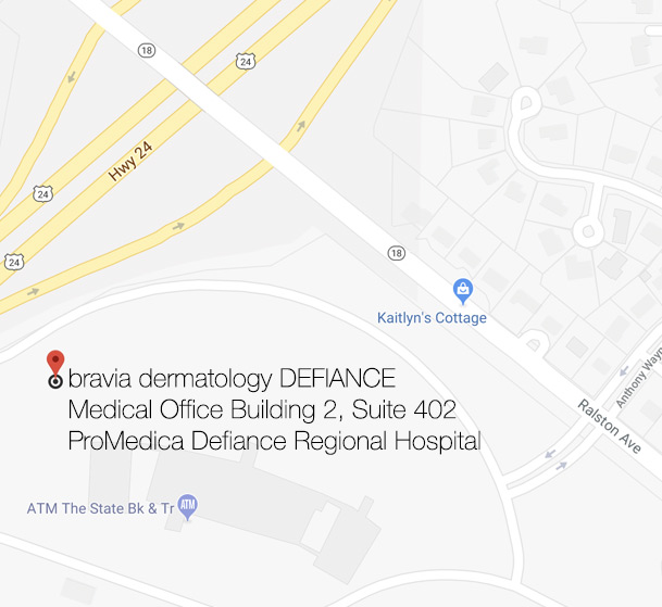 Bravia Dermatology Defiance is located on second floor at the ProMedica Defiance Hospital Medical Office Building 2