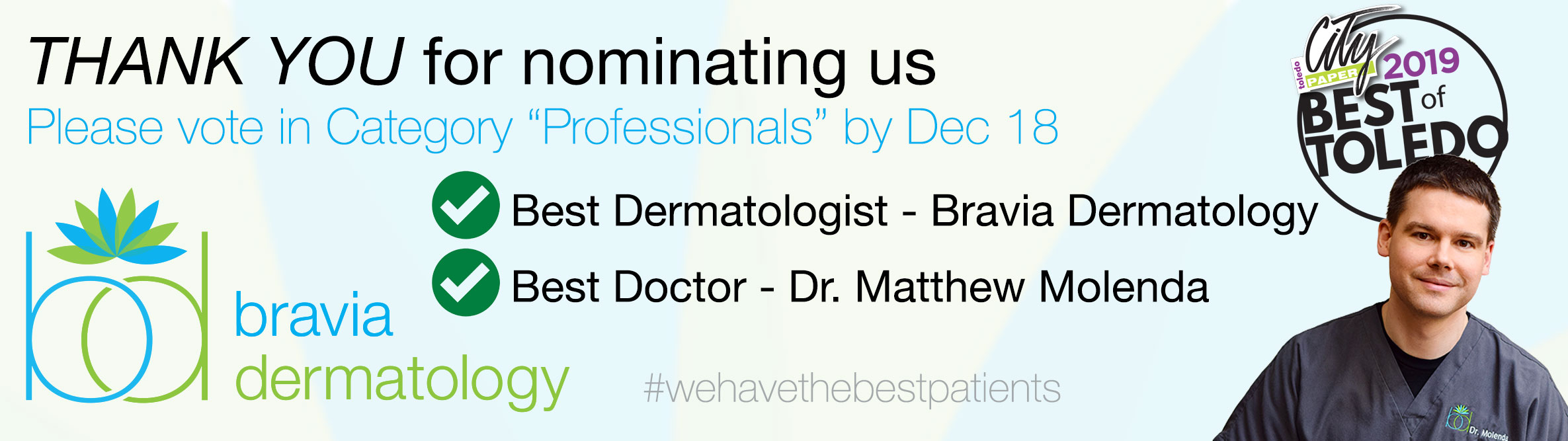 Vote for Bravia Dermatology Best of Toledo!